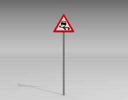3d model slippery road sign