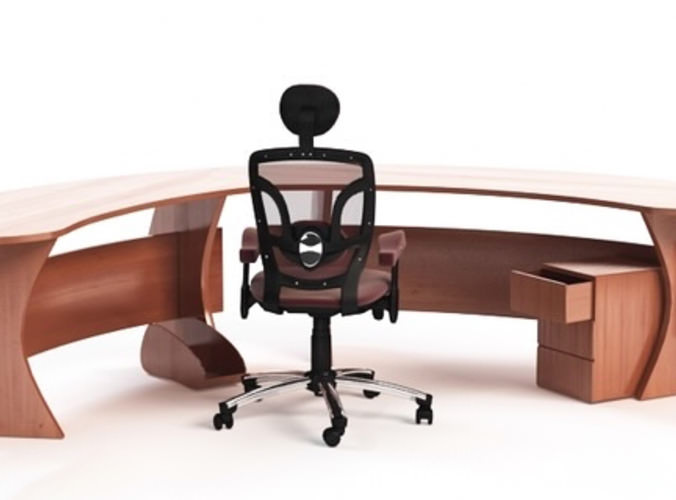 curved office desk with chair 3d model 3ds c4d
