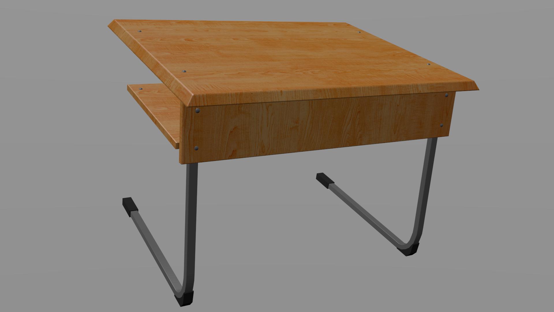 3D model School desk VR AR low poly OBJ BLEND