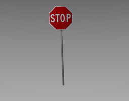 3D model realtime Stop sign