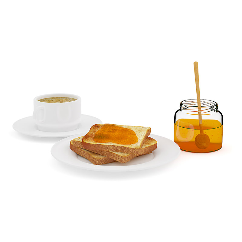 Toast with honey and coffee 3d model max obj fbx c4d mtl for Food bar 3d model