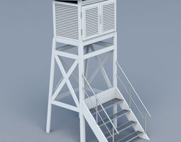 3D model Weather meteo station building low poly