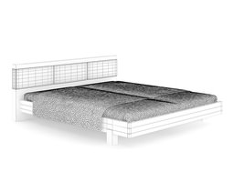 3D model Wooden Bed with Brown Cover