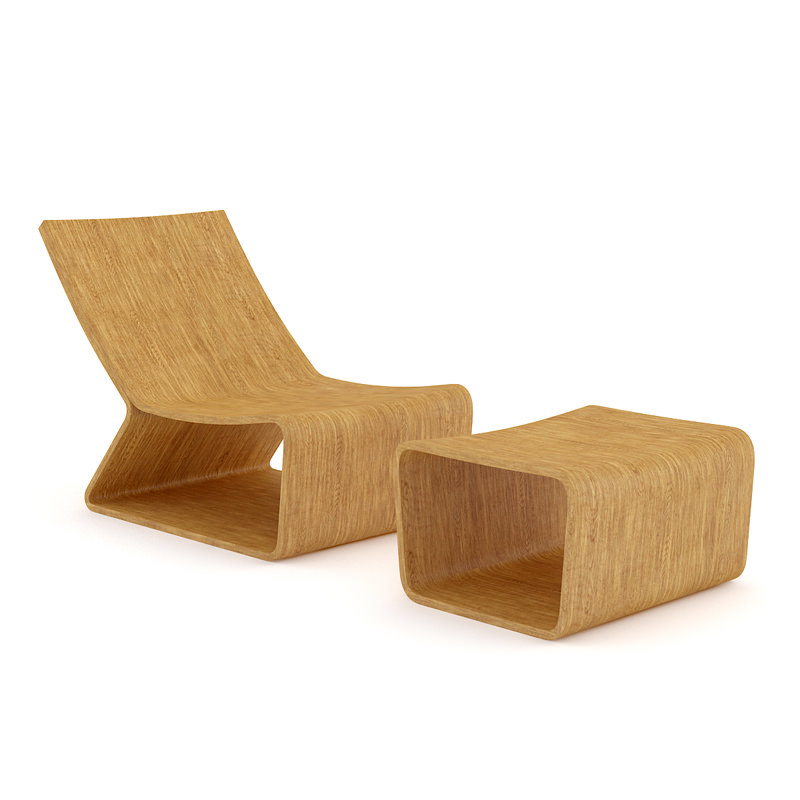 Wooden Lounge Chair 3D Model x obj fbx c4d CGTrader