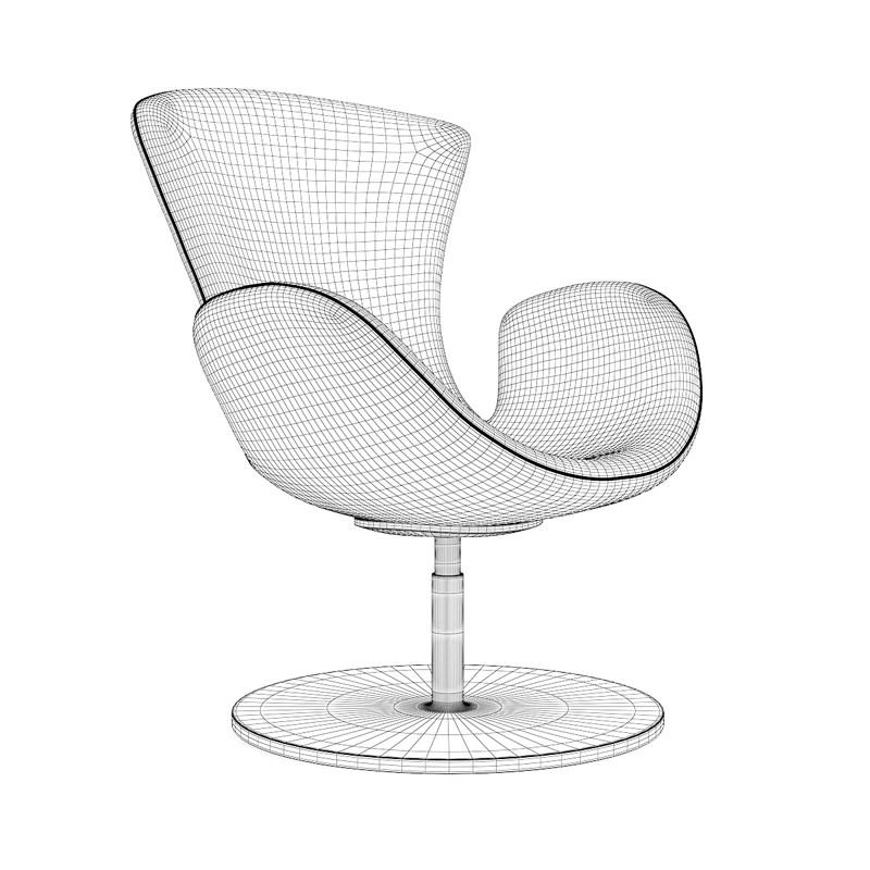 grey swivel armchair 3d model max obj fbx c4d