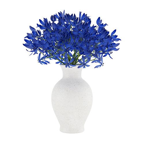 Blue Flowers In White Vase 3d Model Max Obj Fbx C4d