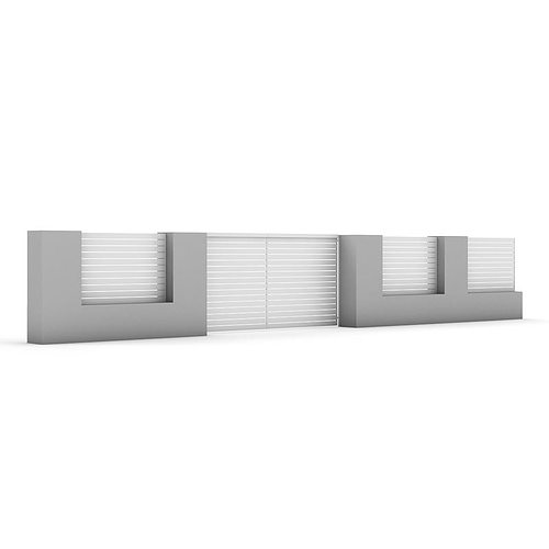 Concrete fence with gate 04 3d model max obj fbx c4d mtl - Concrete fence models design ...