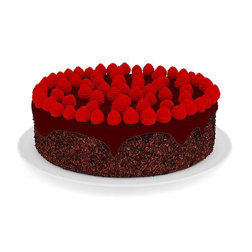 chocolate cake with raspberries 3d model max obj fbx c4d mtl 1
