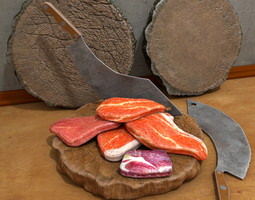 Meat Cleaver with wooden Board 3D model