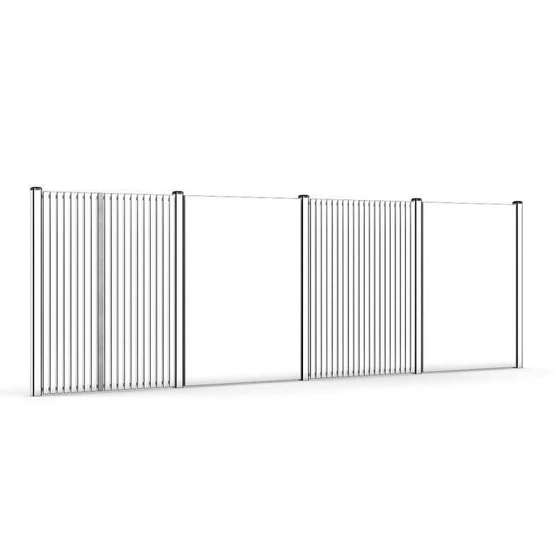 Concrete and wood fence 01 3d model max obj fbx c4d mtl - Concrete fence models design ...