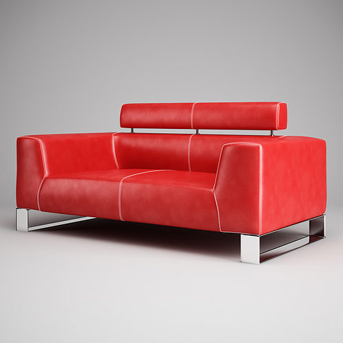 red leather sofa 01 3d model max obj fbx c4d 2 - Red Leather Sofa
