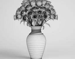 rose bouquet glass vase 11 3d model