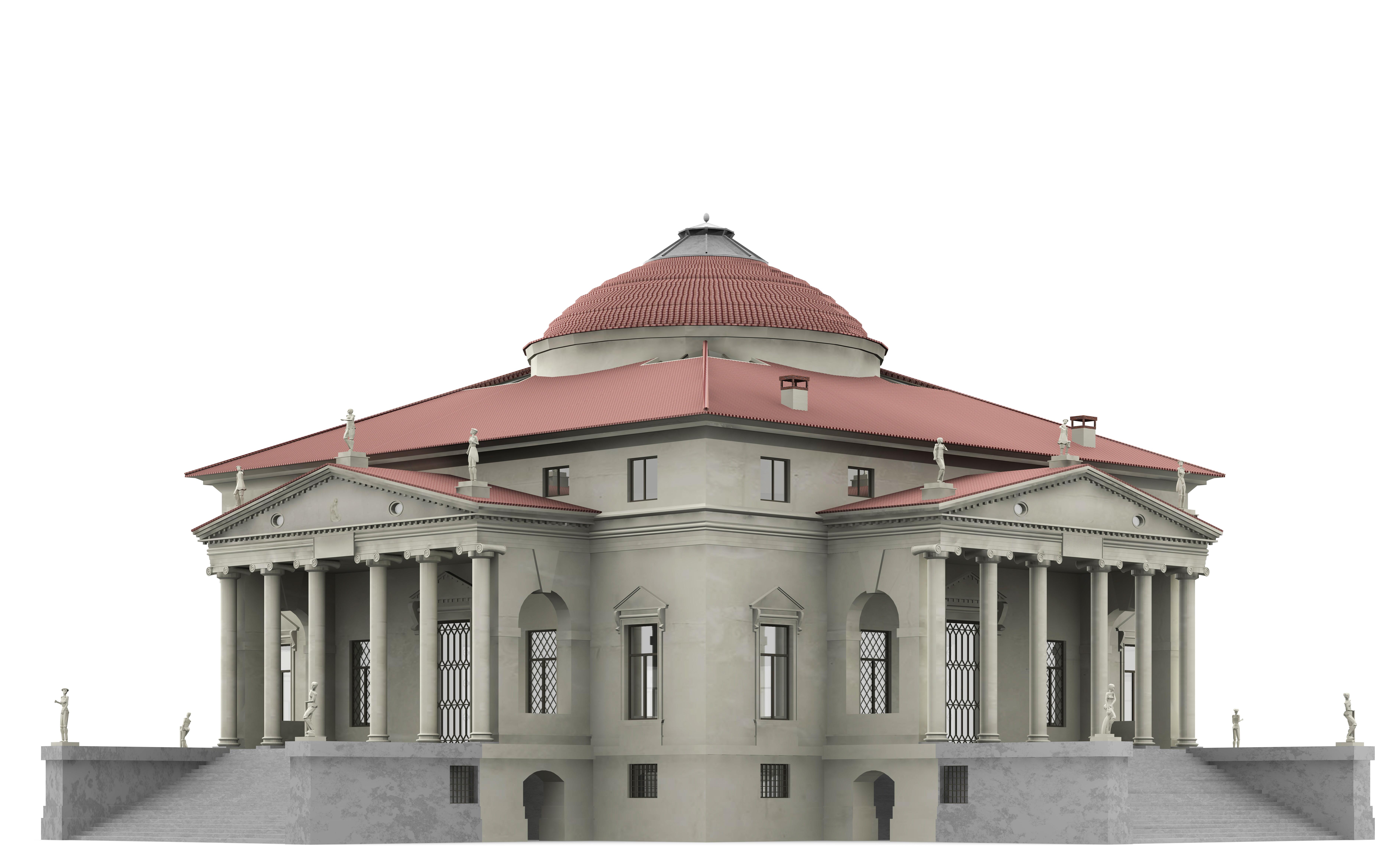 La rotonda villa capra 3d model max 3ds c4d dae skp for Villas 3d model