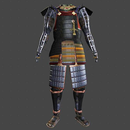 samurai armor black ornate 3d model obj mtl fbx ma mb 1