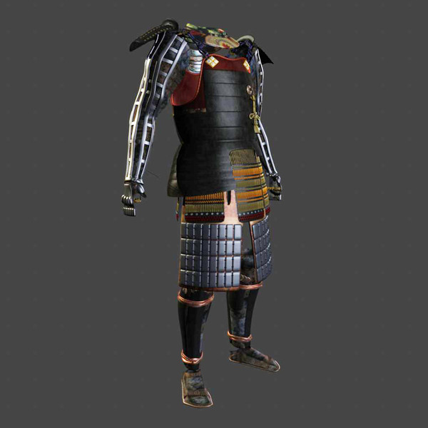 samurai armor black ornate 3d model obj fbx ma mb