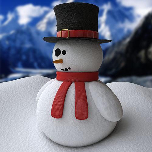 snowman - procedural snow 3d model max obj 3ds fbx mtl 1