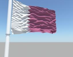 3D Qatar flag