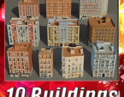 building collection 61 - 70 3d model low-poly max obj 3ds fbx