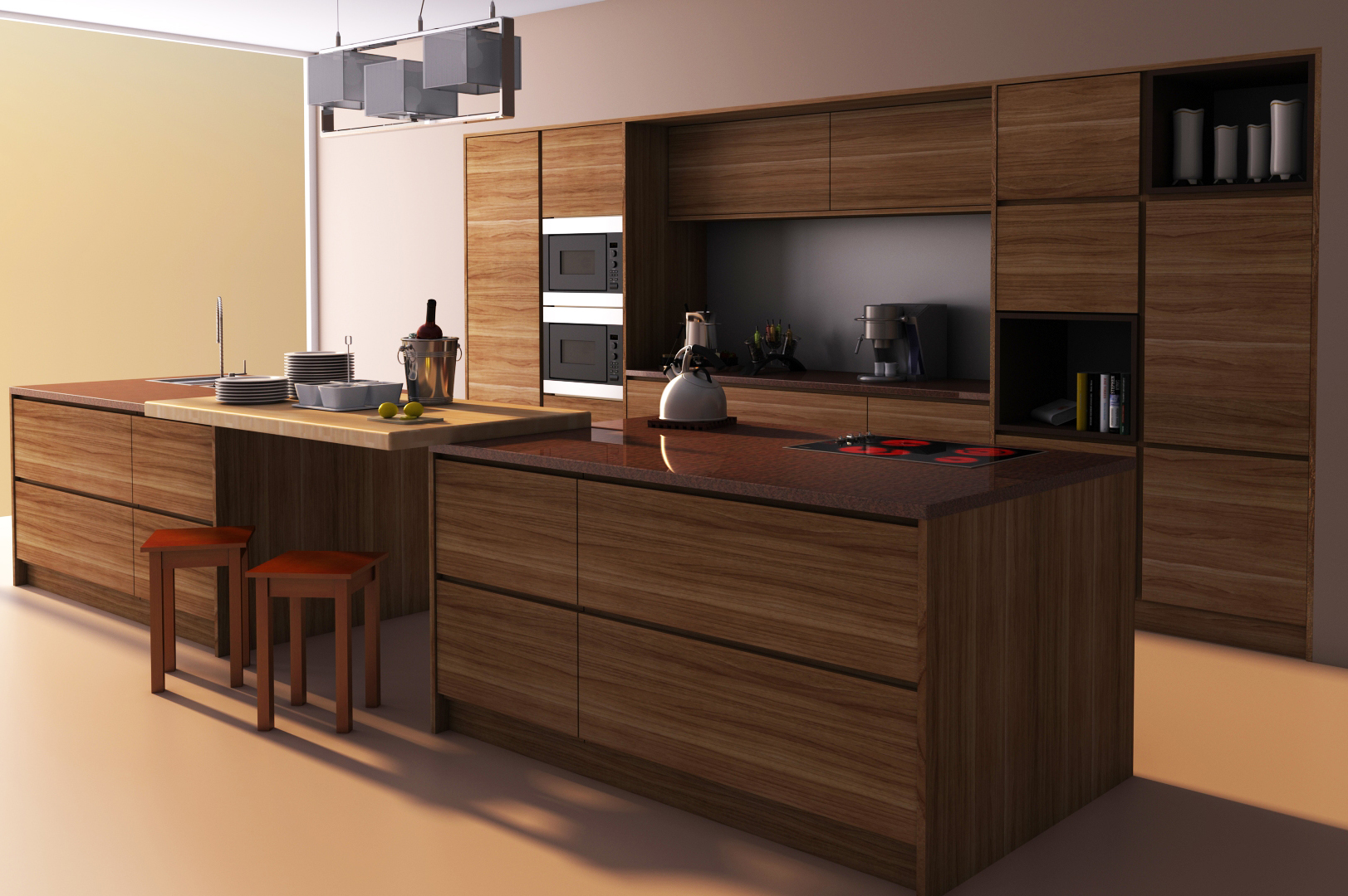 Modern kitchen 3d model max for Model kitchen images