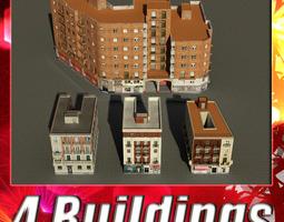 building collection 53-56 3d model low-poly max obj 3ds fbx
