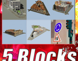 3D model 5 City Blocks Collection