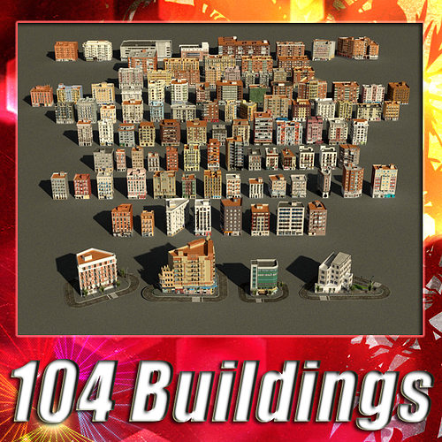 104 buildings collection 3d model low-poly max obj mtl 3ds fbx 1