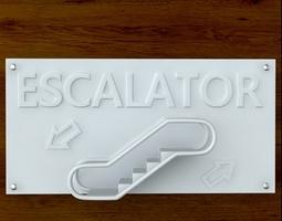 Escalator Sign 3D Model
