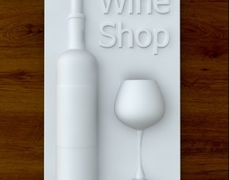 Wine Shop Sign 3D Model