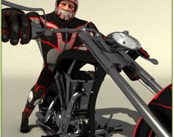 Biker Go Kart Chopper Package 3D Model