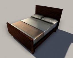 Low-Poly Queen Size Bed 3D asset