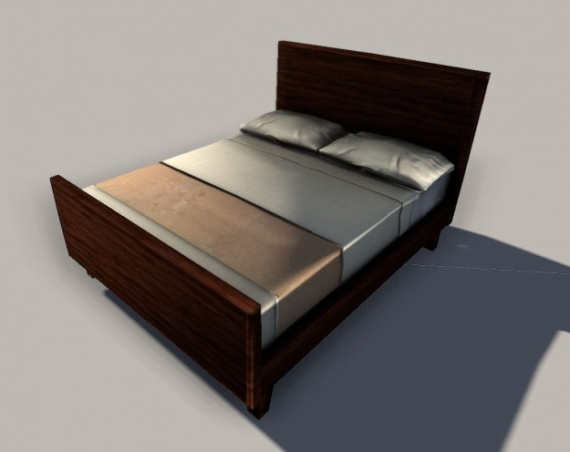 Low Queen Size Bed Part - 38: Low-poly Queen Size Bed 3d Model Obj Ma Mb Tga 1 ...