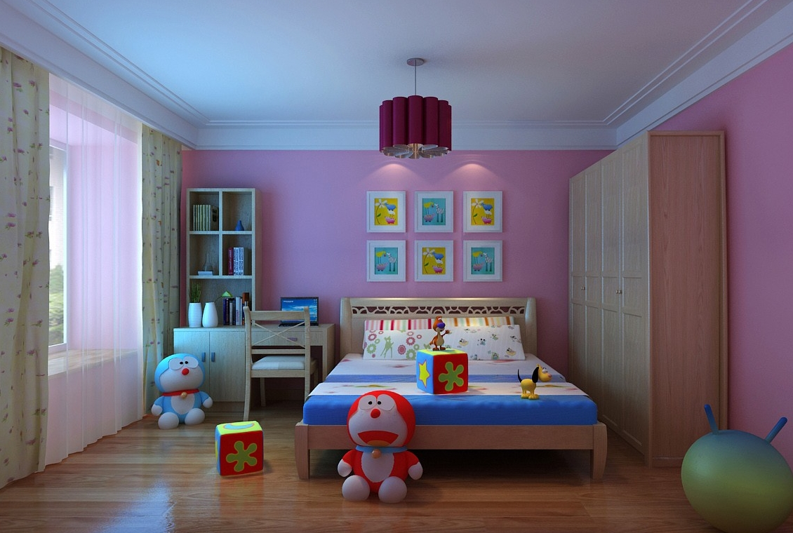 Modern kids bedroom with wooden floor full 3d model for Bedroom designs 3d model