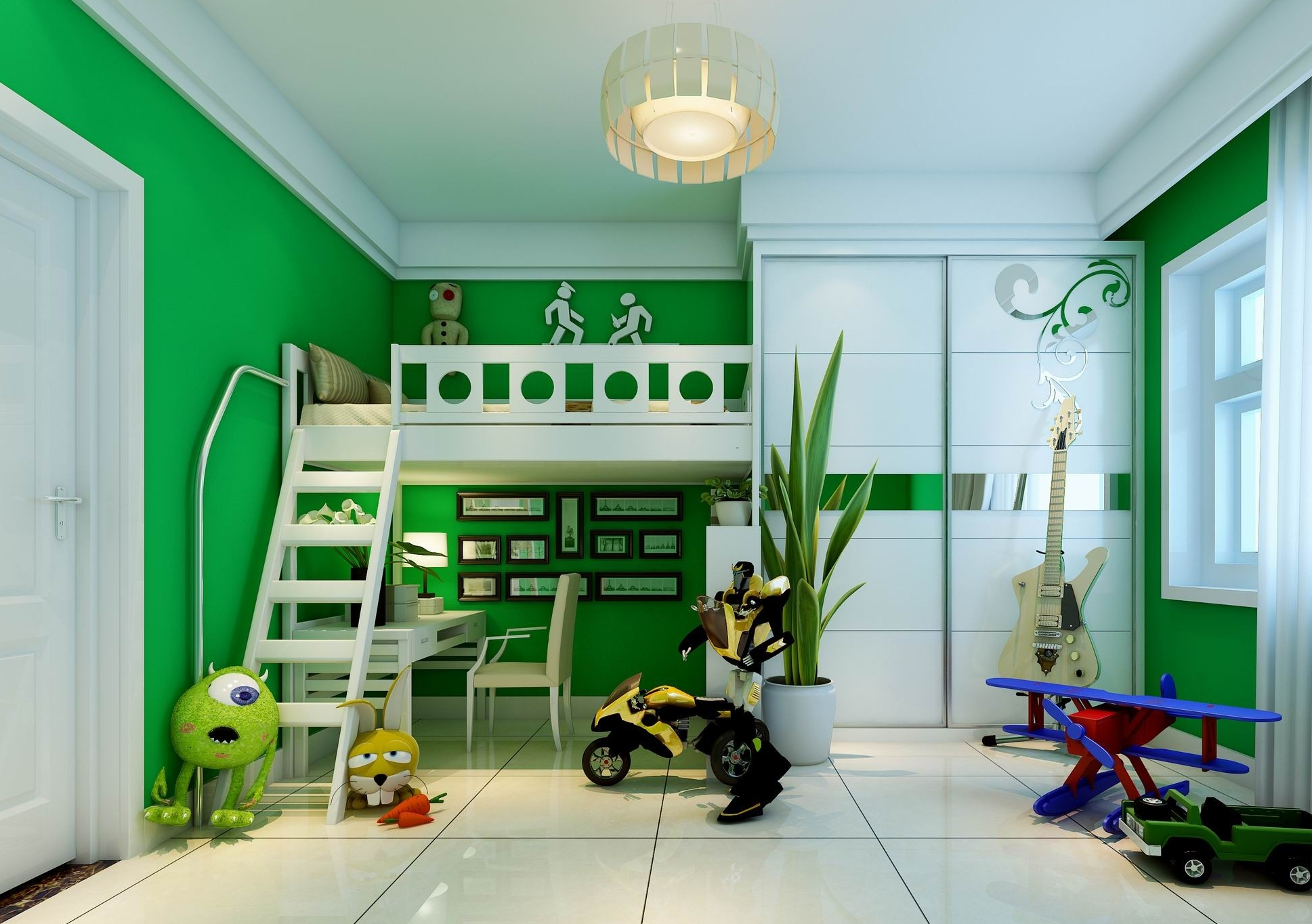 Modern kids bedroom with wooden floor full 3d model max - Beds for small space model ...