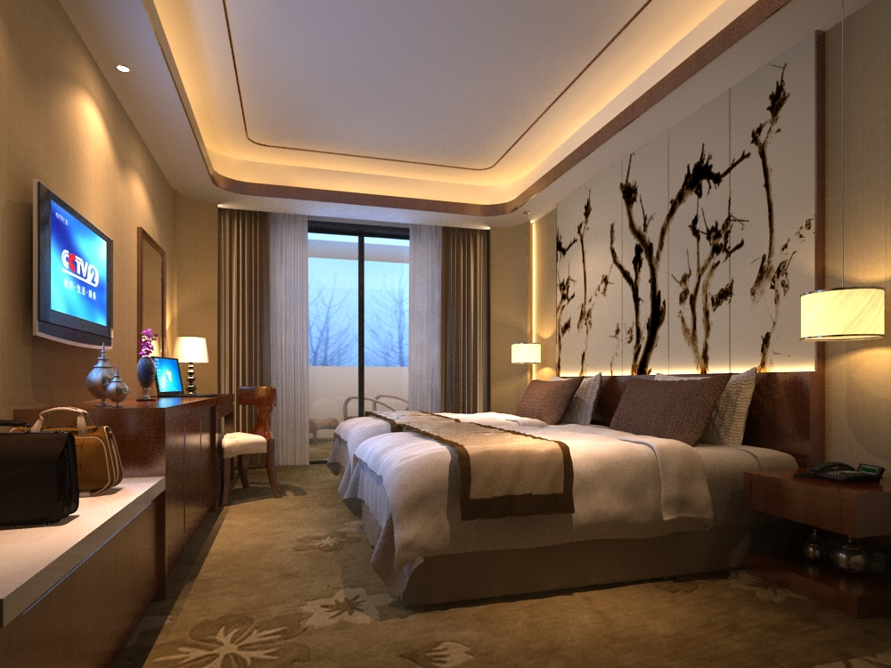 Modern cozy bedroom 3d model max for Model bedroom interior design