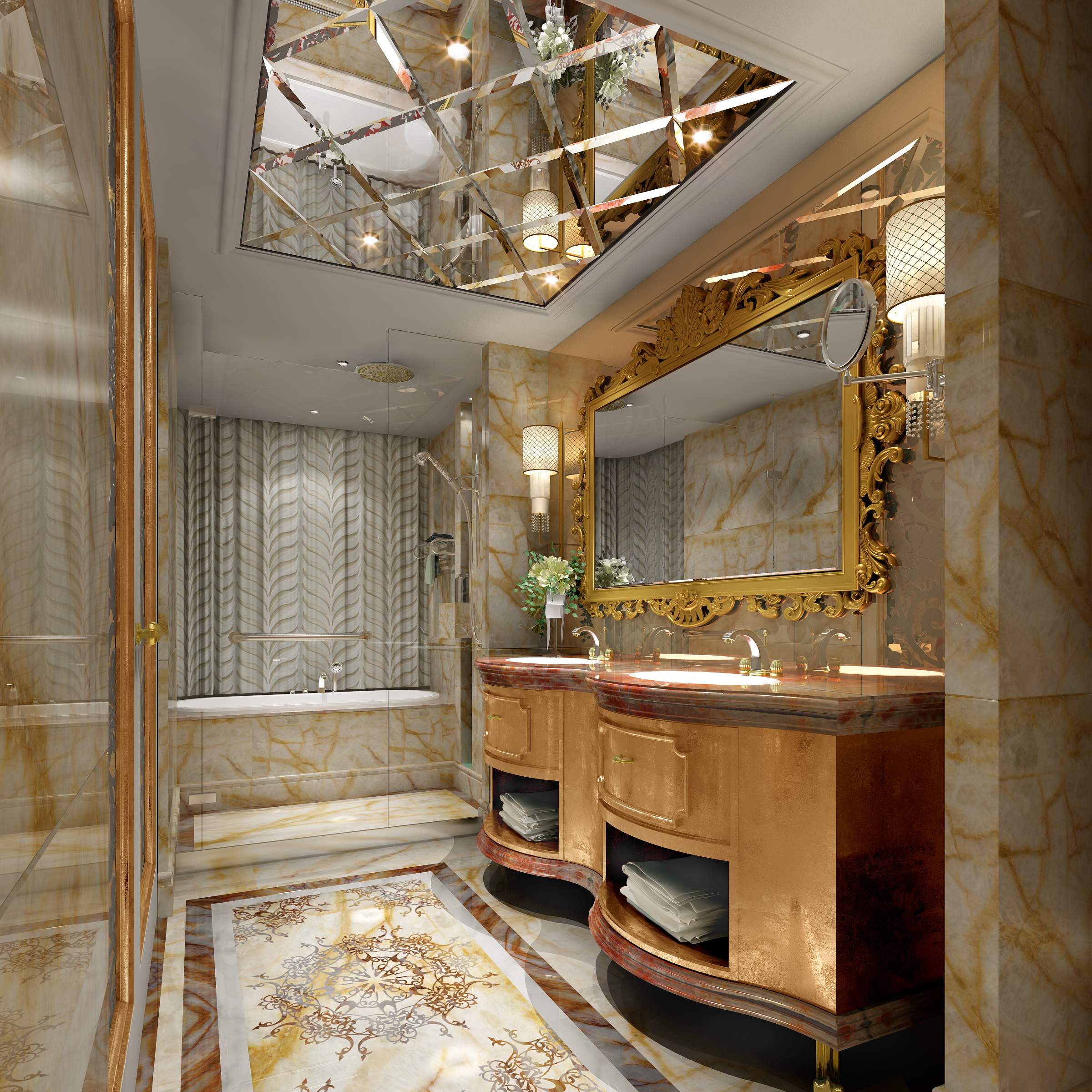 Luxurious Bathroom With Marble Floor 3D Model MAX