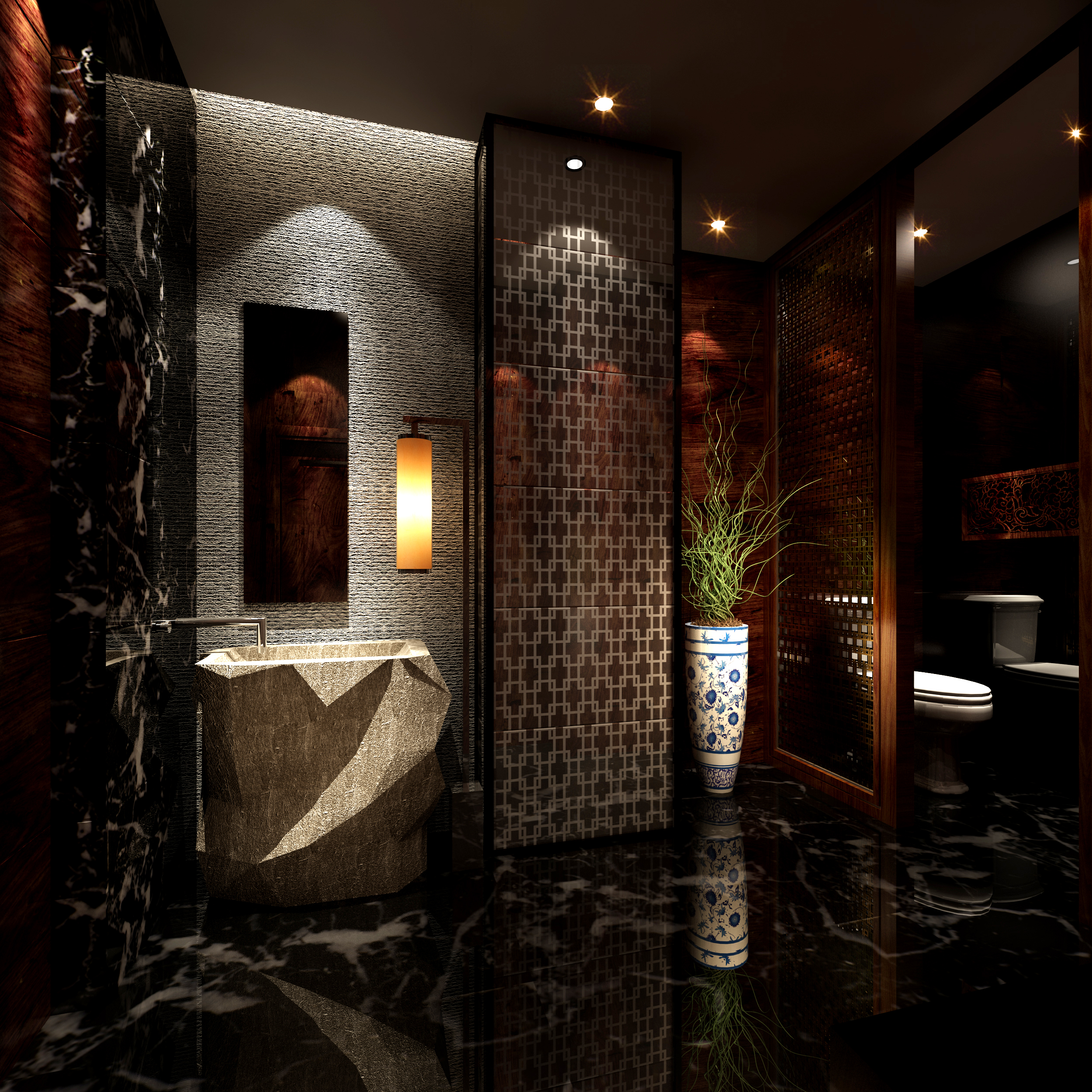 Dark luxurious bathroom with marble floor 3d model max Interior design black bathroom