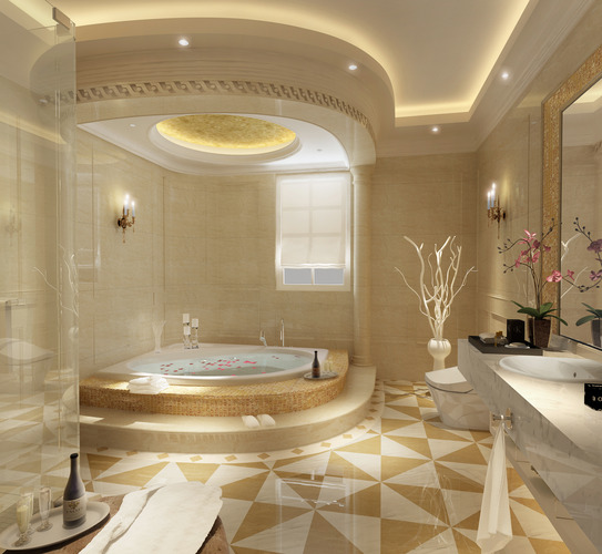 Luxurious Bathroom With Big Bath3D model