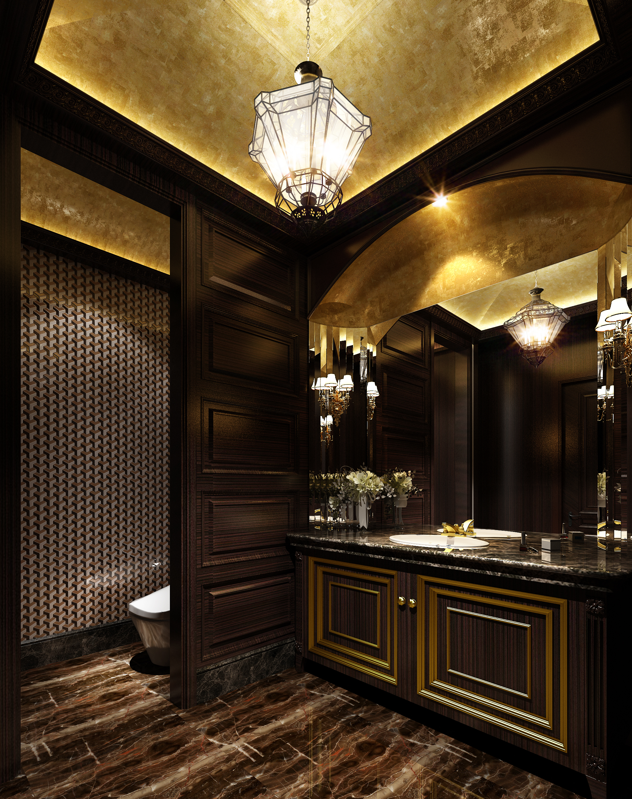 Luxurious dark bathroom with marble floor 3d model max for Dark bathrooms design