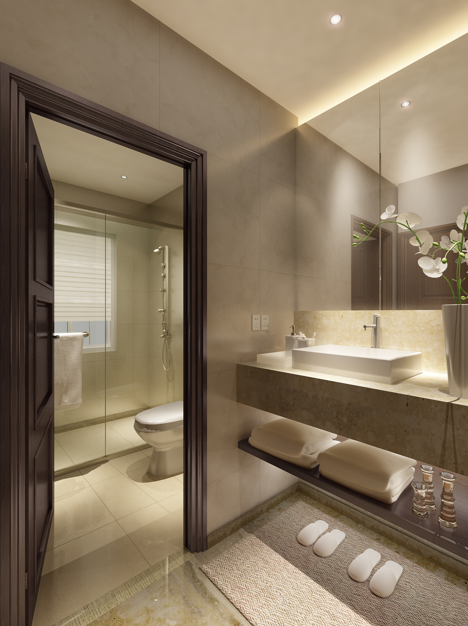 Luxurious bathroom with marble floor 3d model max for Bathroom models photos