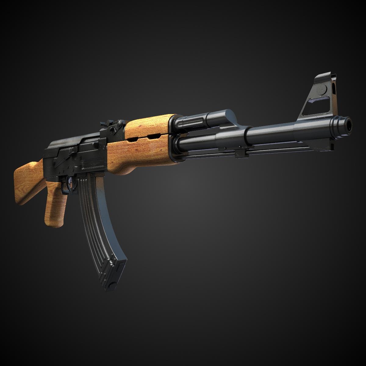 AK47 Assault rifle 3D Model Game ready .max .obj .fbx .lwo