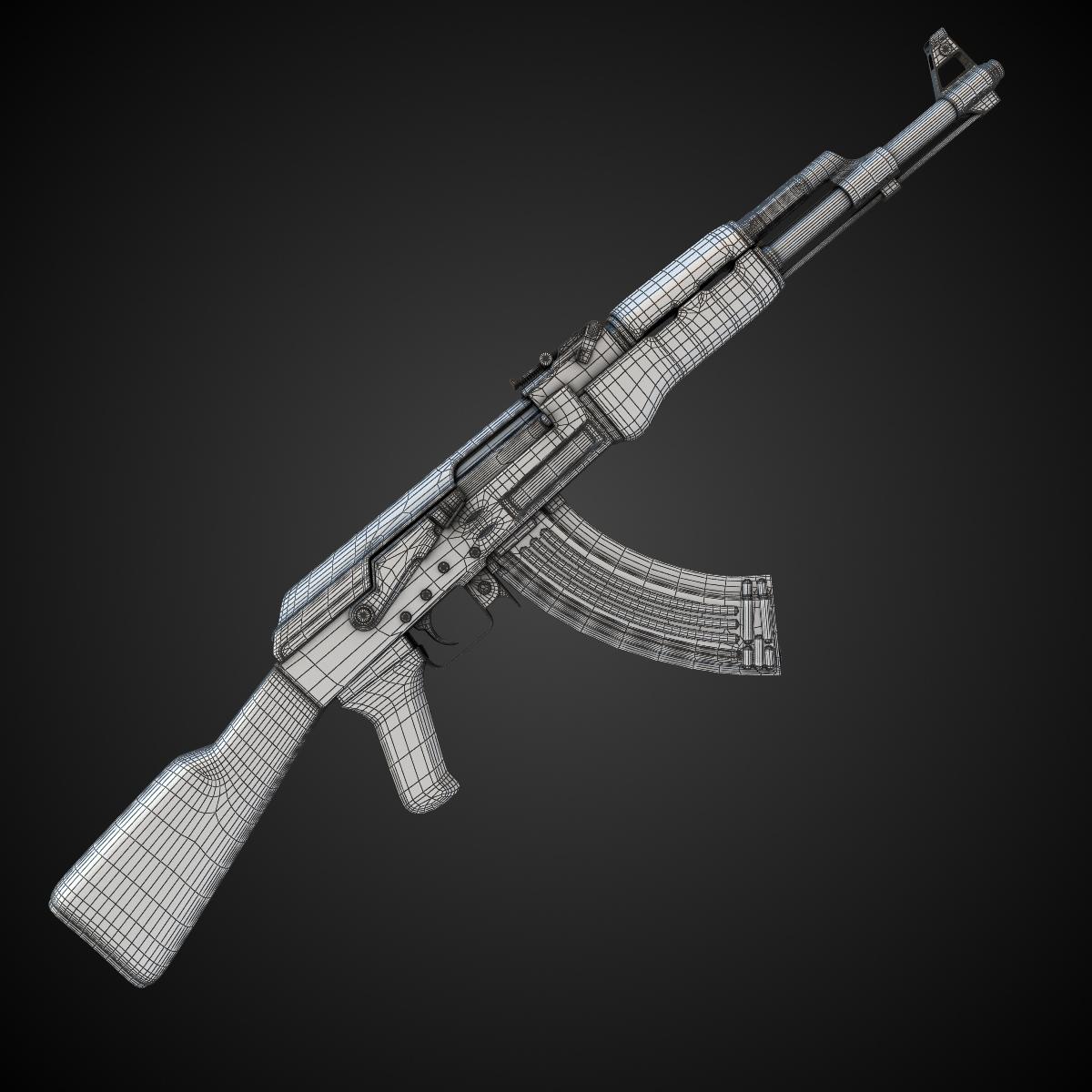 3d Gun Image 3d Home Architect: AK47 Assault Rifle Hi-Res 3D Model MAX OBJ FBX LWO LW LWS