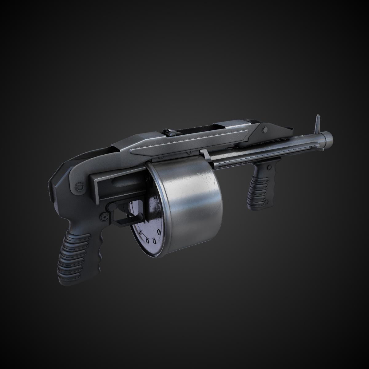 striker shotgun hi res 3d model max obj fbx lwo lw