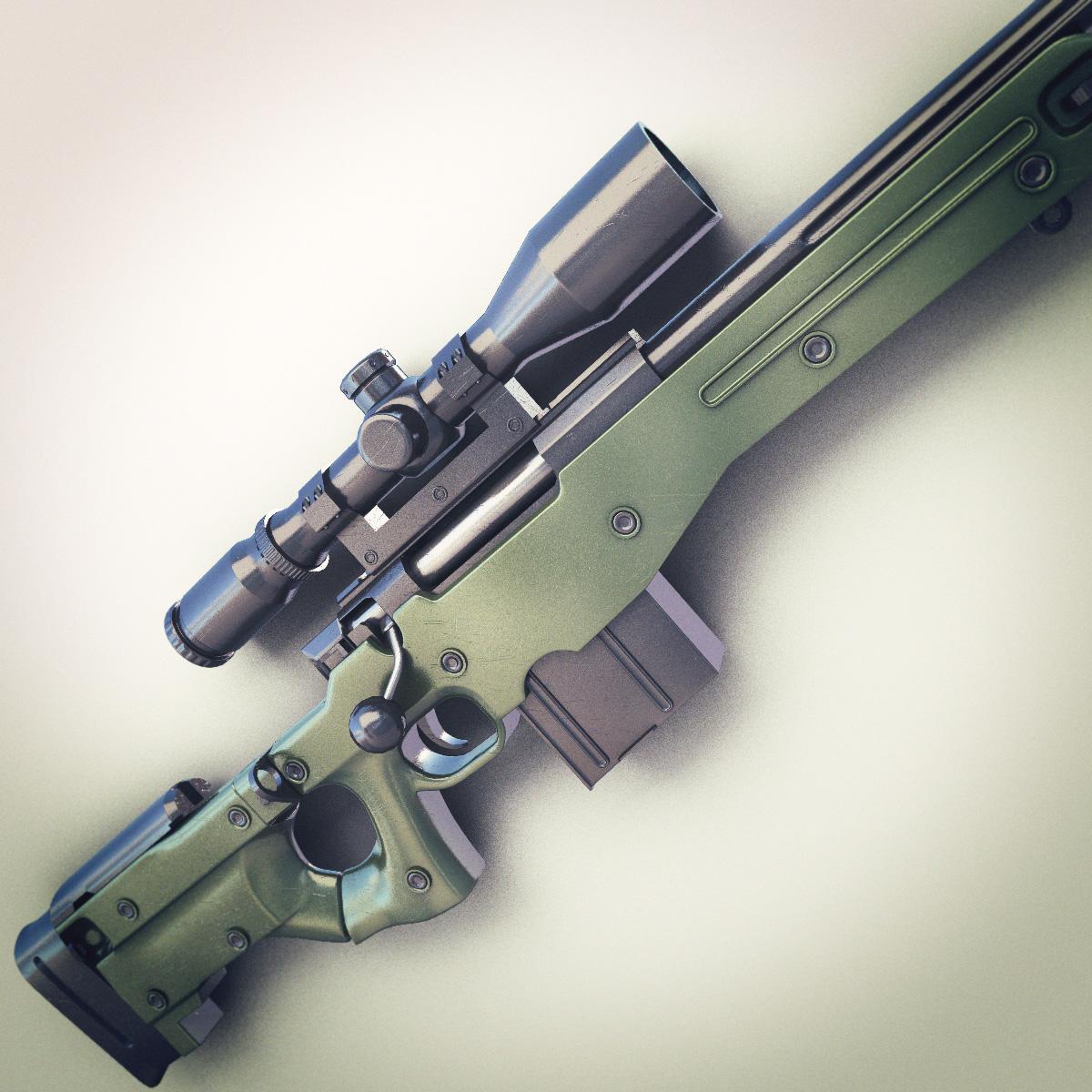 Awm Sniper Rifle Hi Res 3d Model Max Obj Fbx Lwo Lw