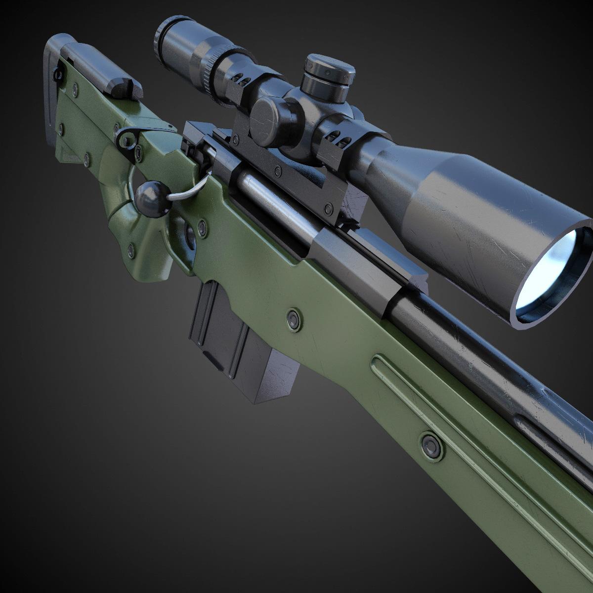 AWM Sniper Rifle Hi-Res 3D Model .max .obj .fbx .lwo .lw ...