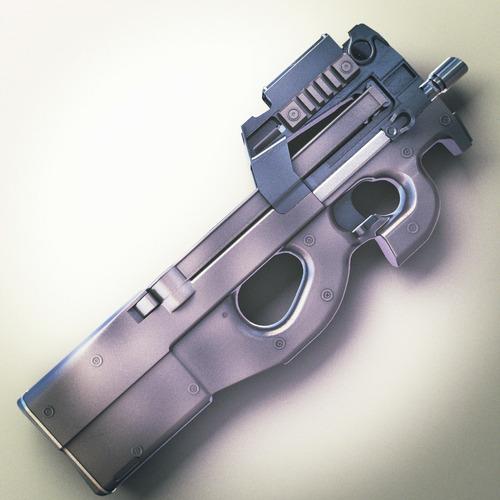 FN P90 SMG Hi-Res 3D Model .max .obj .fbx .lwo .lw .lws