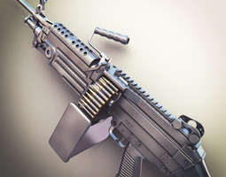 M249 Machine Gun Hi-Res 3D Model