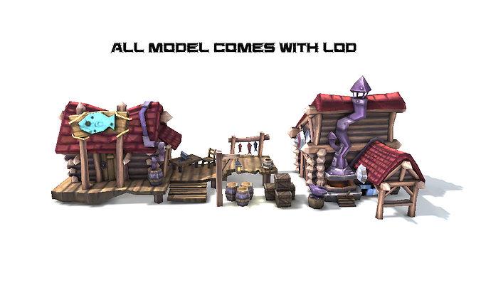 cartoon medieval house 3d model low-poly fbx 1