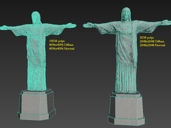 Cristo Redentor Christ the Redeemer - Low-poly