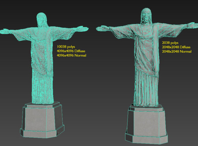 cristo redentor christ the redeemer - low-poly 3d model max obj mtl 1