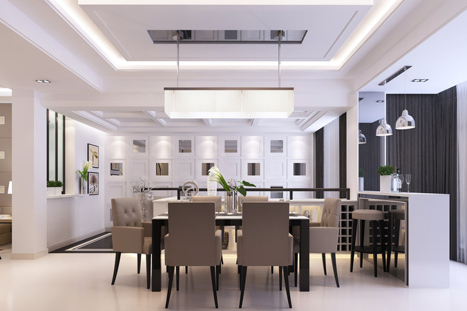 Modern dining room 3d model max for Dining room 3d max interior scenes
